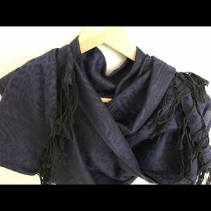 Black and Purple Jacquard Scarf with Tassels